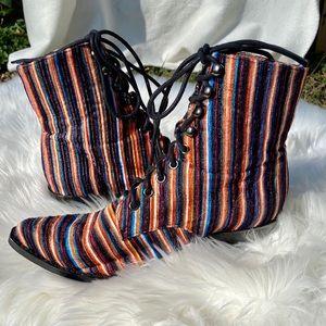 Jeffrey Campbell Elmcroft Striped Velvet Boots